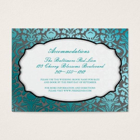 PixDezines teal  flora damask/accommodations Business Card