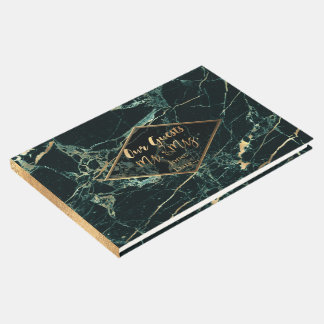 PixDezines TEAL GREEN MARBLE+FAUX GOLD VEINS Guest Book