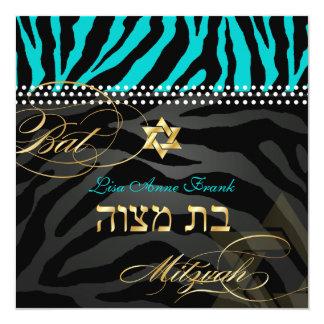 PixDezines Teal Zebra Stripes, Bat Mitzvah 13 Cm X 13 Cm Square Invitation Card