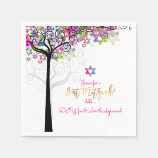 PixDezines TREE OF LIFE/BAT MITZVAH/NEON PINK Disposable Serviette