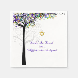 PixDezines TREE OF LIFE/BAT MITZVAH/PURPLE Disposable Serviette