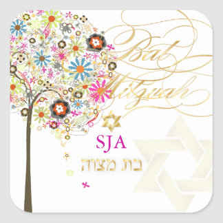 PixDezines tree of life/floral/Bat Mitzvah Square Sticker