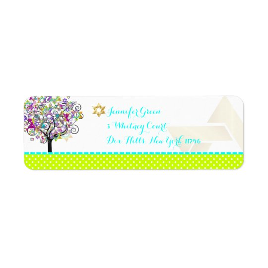 PixDezines tree of life/mitzvah Return Address Label