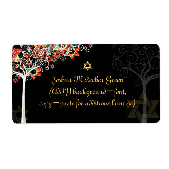 PixDezines tree of life/mitzvah Shipping Label