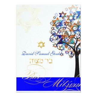 PixDezines tree of life+stars, Bar Mitzvah 14 Cm X 19 Cm Invitation Card