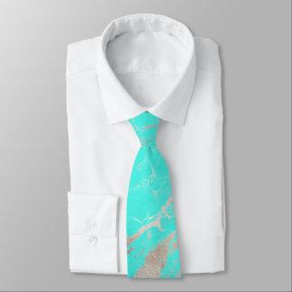 PixDezines Turquoise Blue Marble Slab+Silver Veins Tie