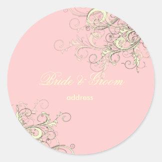 PixDezines vanilla swirls/diy cupcake pink Round Sticker
