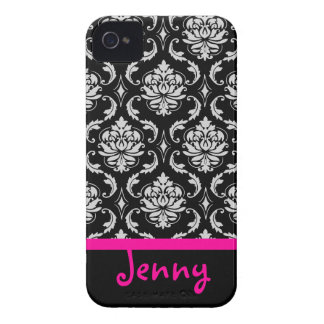 PixDezines Vendom Damask/Pink+Black/DIY color Case-Mate iPhone 4 Cases