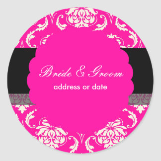 PixDezines Vendome Damask, Hot Pink Classic Round Sticker