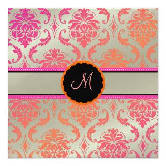 PixDezines Vendome Damask /Passion Pink 13 Cm X 13 Cm Square Invitation Card