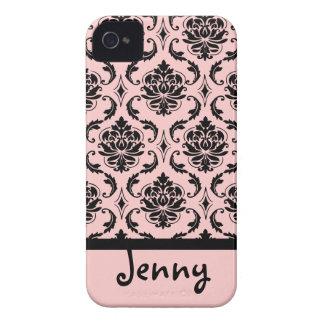 PixDezines Vendome Damask/Pink+Black/DIY color iPhone 4 Case-Mate Cases
