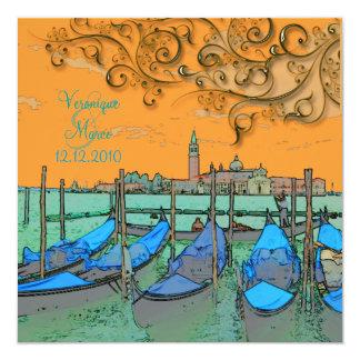 PixDezines Venezia wedding invitations/gondolas 13 Cm X 13 Cm Square Invitation Card