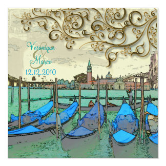 PixDezines Venezia wedding invitations/gondolas 13 Cm X 13 Cm Square Invitation Card