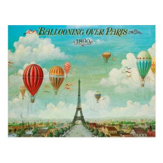 PixDezines vintage balloons over paris Postcard