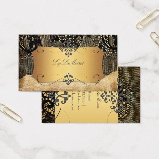 PixDezines VINTAGE BLACK LACE/FAUX PARCHMENT Business Card