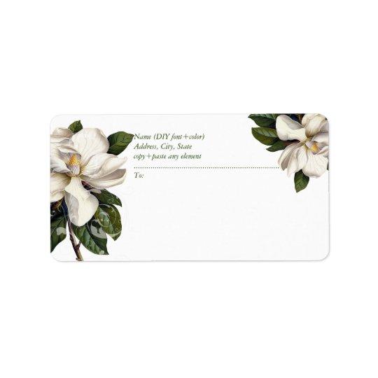 PixDezines Vintage Botanical Magnolia Address Label