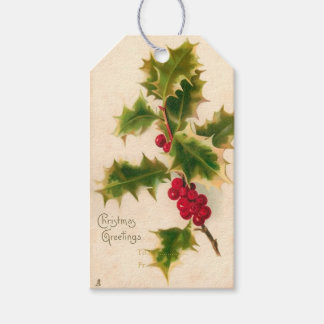 PixDezines Vintage Christmas Holly Gift Tags