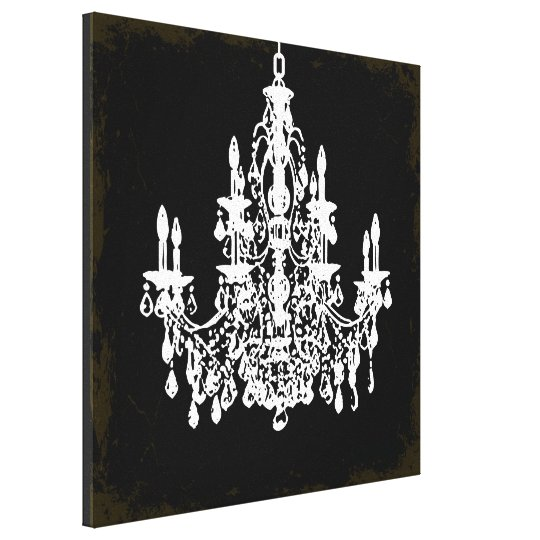 PixDezines vintage DIY colour/crystal chandelier Canvas Print