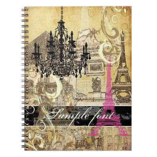 PixDezines vintage eiffel tower+swirls+chandelier Spiral Notebook