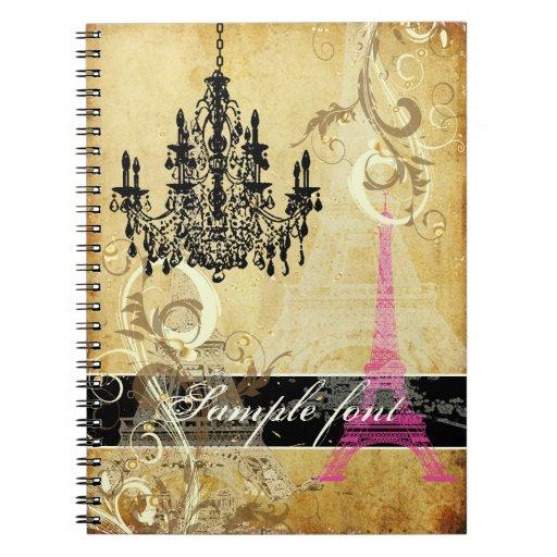 PixDezines vintage eiffel tower+swirls+chandelier Spiral Note Books