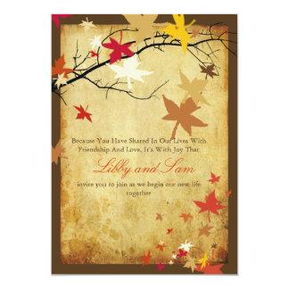 PixDezines vintage fall invitations/maple leaves Card