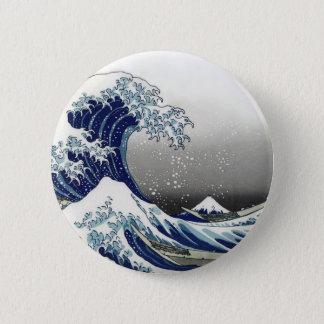 PixDezines Vintage, Great Wave, Hokusai 葛飾北斎の神奈川沖浪 6 Cm Round Badge