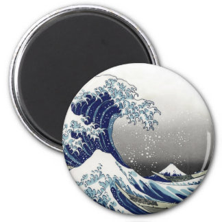 PixDezines Vintage, Great Wave, Hokusai 葛飾北斎の神奈川沖浪 6 Cm Round Magnet