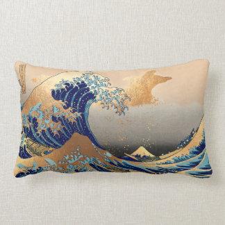 PixDezines Vintage, Great Wave, Hokusai 葛飾北斎の神奈川沖浪 Lumbar Cushion