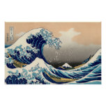 PixDezines Vintage, Great Wave, Hokusai 葛飾北斎の神奈川沖浪 Poster