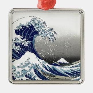 PixDezines Vintage, Great Wave, Hokusai 葛飾北斎の神奈川沖浪 Silver-Colored Square Decoration