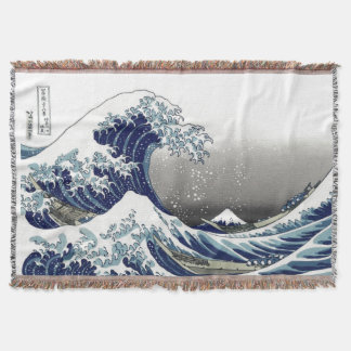 PixDezines Vintage, Great Wave, Hokusai 葛飾北斎の神奈川沖浪 Throw Blanket