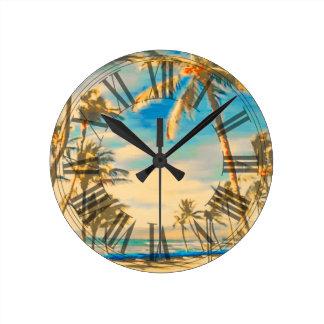 PixDezines vintage hawaii beach Clock