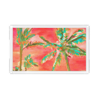 PixDezines Vintage Hawaiian Beach/Coral/Teal Acrylic Tray