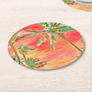 PixDezines Vintage Hawaiian Beach/Coral/Teal Round Paper Coaster