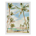 PixDezines Vintage Hawaiian Beach/Light Blue Poster