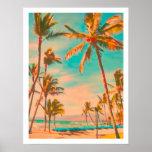 PixDezines Vintage Hawaiian Beach Poster