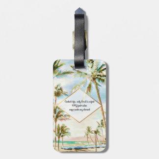 PixDezines vintage hawaiian beach scene/Breezy Blu Luggage Tag