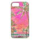 PixDezines Vintage Hawaiian Beach Scene/Pink iPhone 8/7 Case