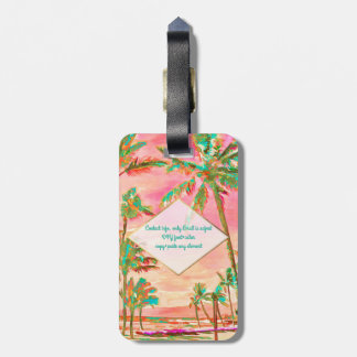 PixDezines vintage hawaiian beach scene/Pink Luggage Tag