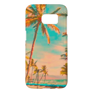 PixDezines Vintage Hawaiian Beach Scene/teal
