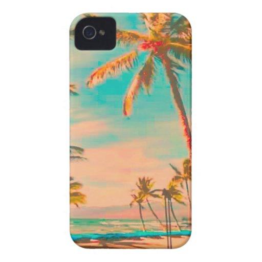 PixDezines Vintage Hawaiian Beach Scene/teal iPhone 4 Case
