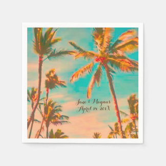 PixDezines Vintage Hawaiian Beach/Teal Disposable Napkins