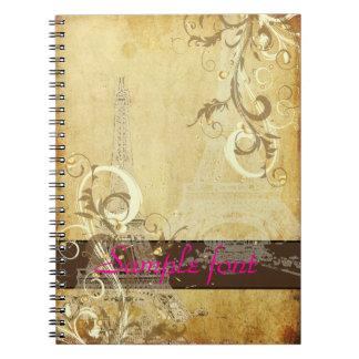 PixDezines vintage la tour eiffel+swirls Spiral Note Books