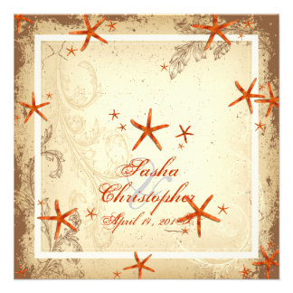 PixDezines vintage orange starfish Invitations