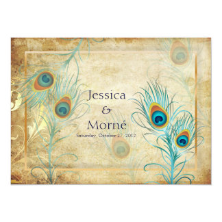 PixDezines vintage peacock feather/DIY colors 5.5x7.5 Paper Invitation Card
