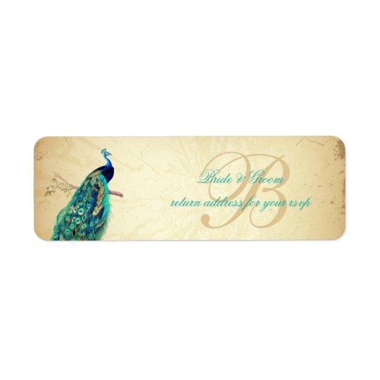 PixDezines Vintage Peacock Illustration Return Address Label