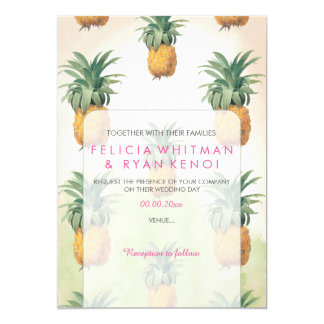 PixDezines Vintage Pinapples/DIY background 13 Cm X 18 Cm Invitation Card