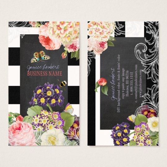 PixDezines vintage primrose, peonies Business Card