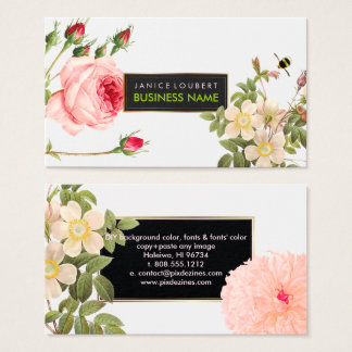 PixDezines Vintage Roses/Illustration/Redoute Business Card