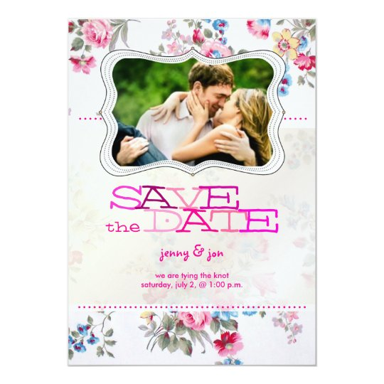 PixDezines vintage roses/photo save the date Card
